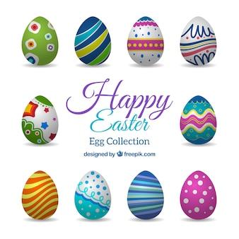 Colección de huevos de pascua coloridos
