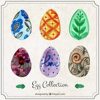 Coleccíon de huevos de Pascua de acuarela