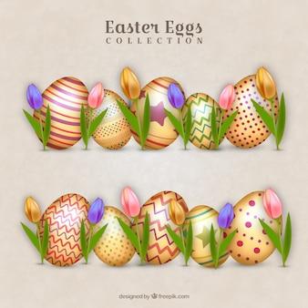 Colección de huevos de pascua dorados