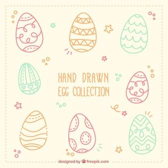 Colección de huevos dibujados a mano