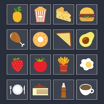 Colección de iconos a color de comida