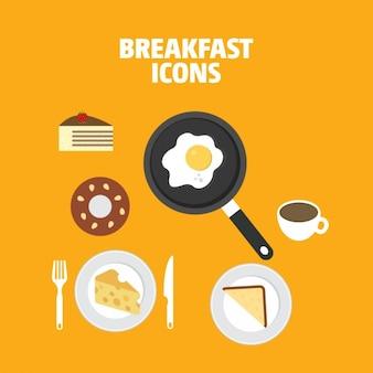 Colección de iconos a color de desayuno