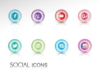 Colección de iconos brillantes de redes sociales