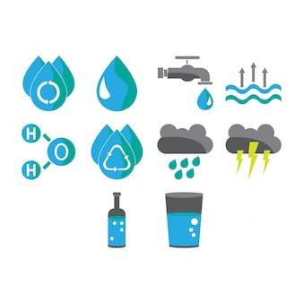 Colección de iconos de agua