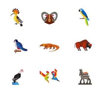 Colección de iconos de animales exóticos