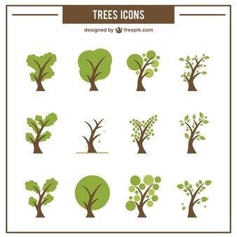 Colección de iconos de árboles verdes