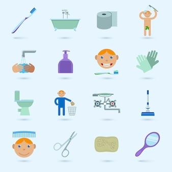 Colección de iconos de baño