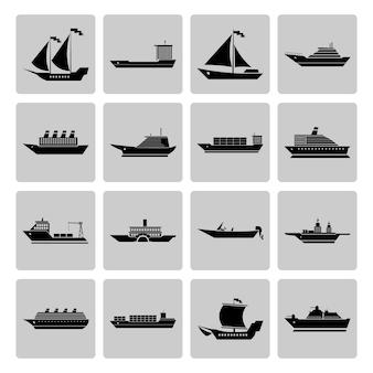 Colección de iconos de barcos