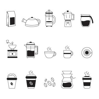 Colección de iconos de café