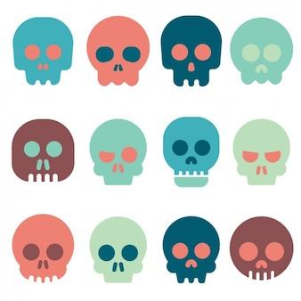Colección de iconos de calaveras a color