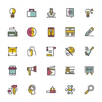 Colección de iconos de colegio