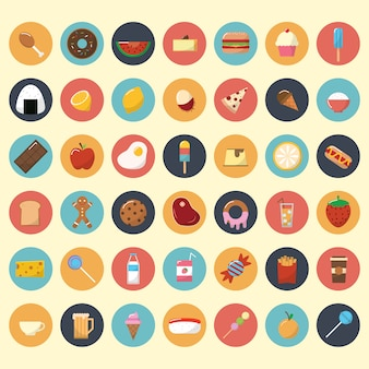 Colección de iconos de comida y aperitivos
