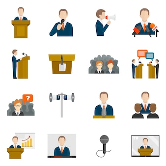 Colección de iconos de conferencia