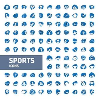 Colección de iconos de deporte azules y blancos