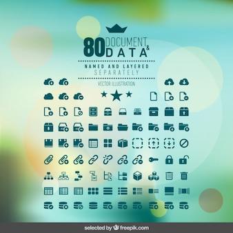 Colección de iconos de documentos e información