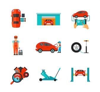 Colección de iconos de mecánico