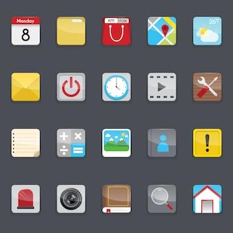 Colección de iconos de menú de teléfono móvil