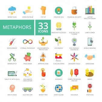Colección de iconos de metáforas