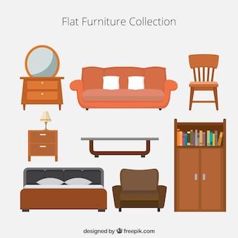 Colección de iconos de muebles planos