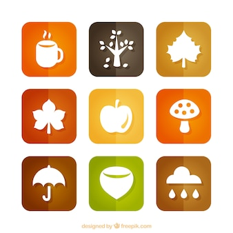 Colección de iconos de otoño