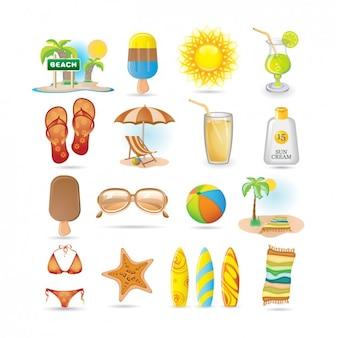 Colección de iconos de playa