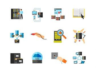 Colección de iconos de red de trabajo