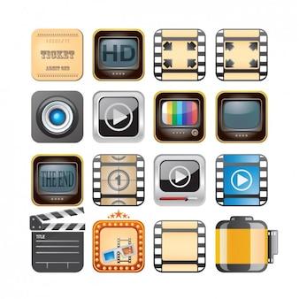 Colección de iconos de reproductores de vídeo