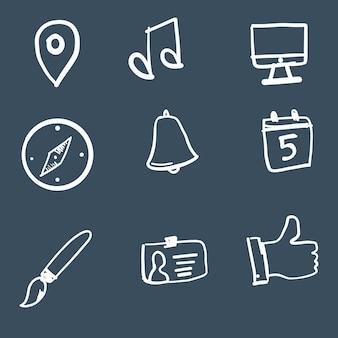 Colección de iconos de tecnología dibujados a mano