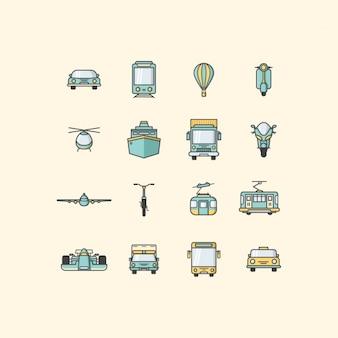 Colección de iconos de vehículos de transporte