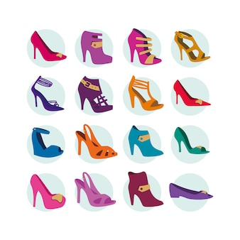 Colección de iconos de zapatos de tacón