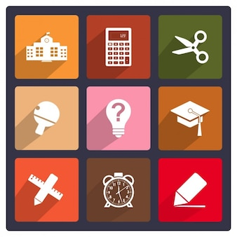 Colección de iconos planos de colegio