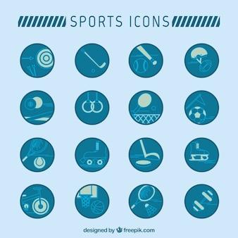 Colección de iconos planos de deporte