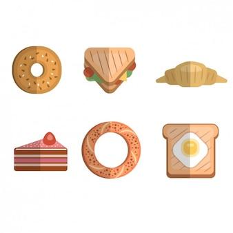 Colección de iconos planos de desayuno