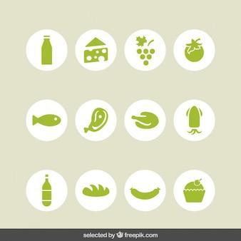 Colección de iconos verdes de alimentos