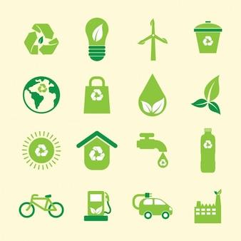 Colección de iconos verdes de medio ambiente