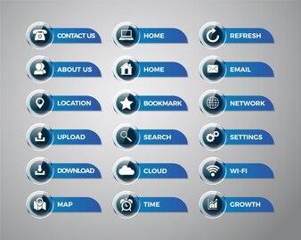 Colección de iconos y etiquetas de aplicaciones de móvil