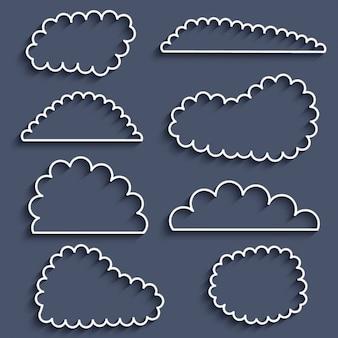 Colección de icons de nuves con trazos
