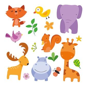 Colección de ilustraciones de animales salvajes