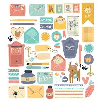 Colección de ilustraciones de correo