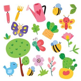 Colección de ilustraciones de elementos de granja