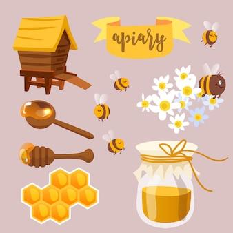 Colección de ilustraciones de miel