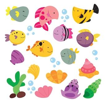 Colección de ilustraciones de peces