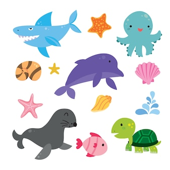 Colección de ilustraciones de vida marina