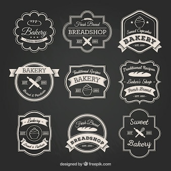 Colección de insignia de panadería en estilo retro