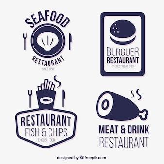 Colección de insignias azules de restaurante