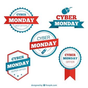 Colección de insignias bonitas del lunes cibernético con detalles en rojo