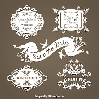 Colección de insignias de boda antigüas