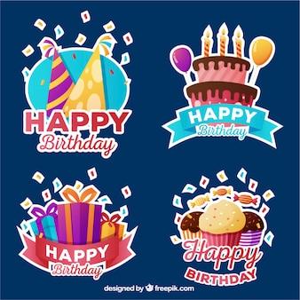 Colección de insignias de cumpleaños coloridas