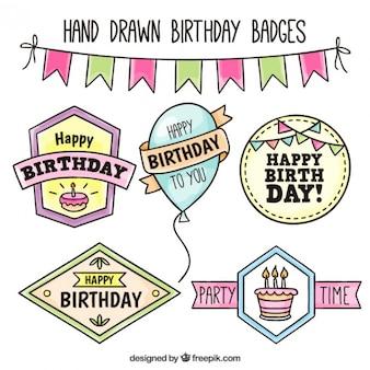 Colección de insignias de cumpleaños dibujadas a mano