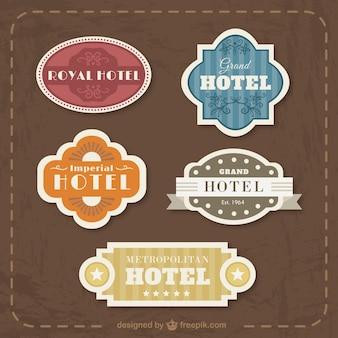 Colección de insignias de hotel planas vintage